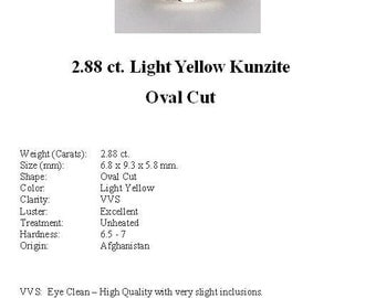 KUNZITE - A 2.88 ct. Pale, Pale Yellow Kunzite GemStone in a Gorgeous Oval Cut...