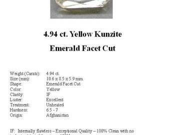 KUNZITE - Really Nice 4.94 ct. Pale Yellow Kunzite GemStone in an Beautiful Emerald Cut...