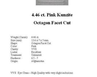 KUNZITE - Striking Pale Pink  4.46 Carat Kunzite GemStone in a Beautiful Faceted Octagon Cut...