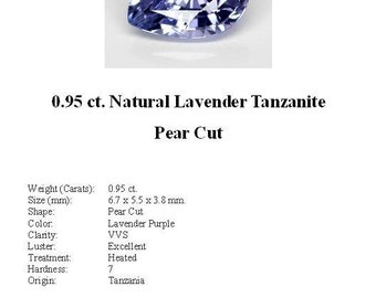TANZANITE - 0.95 Carats of Ice Blue/Lavender Tanzanite in a Stunning Pear Cut...