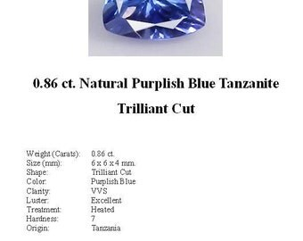 TANZANITE -  0.86 Carats of Beautiful Purplish Blue Tanzanite in a Stunning Trilliant Cut...