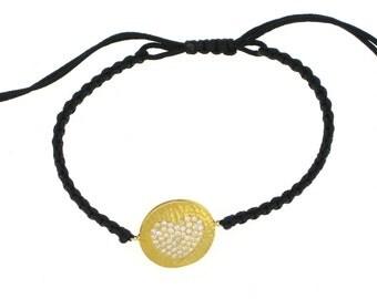 SALE--Gold Hammered Heart Macrame Bracelet