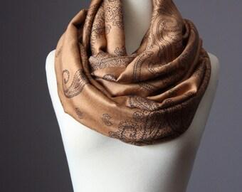 Camel scarf, brown infinity scarf , pashmina, paisley scarf
