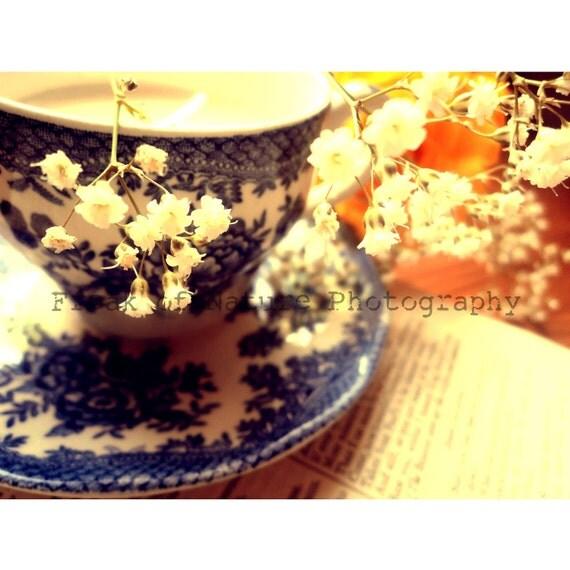 Fine Art Photography Digital Download Teacup Blossom White Flowers Orange Light Printable Art Photo