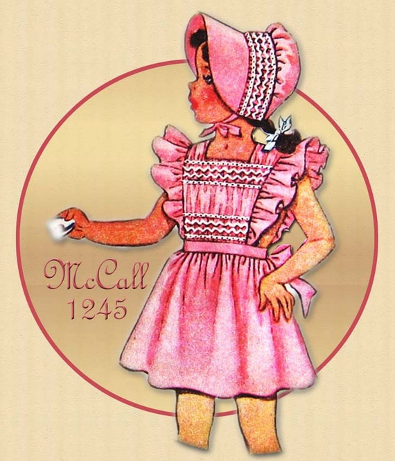 1940s Pinafore Pattern Vintage McCall 1245 Toddler Smocked Pinafore with Smocked Bonnet and Panties Size 2