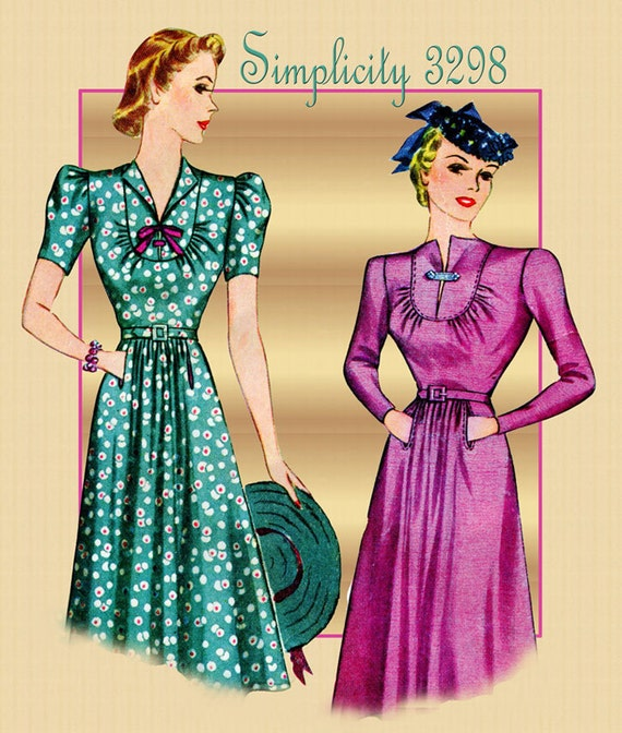 1930s Sewing Pattern Vintage Simplicity 3298 One Piece Career Day Dress Unique Bodice Size 16 Bust 34