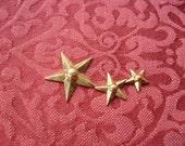 2 Vintage Brass Triple Star Stamping