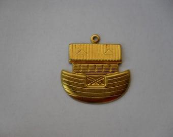 2 Vintage Brass Noah's Ark Stamping  ..  t-7