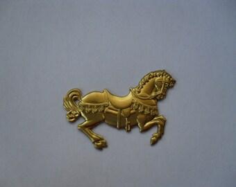 2 Vintage Brass Dancing Parade Horse Stampings