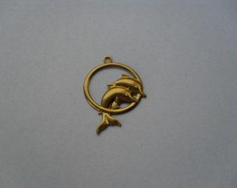 3 Vintage Brass Dolphins in Hoop  Stamping