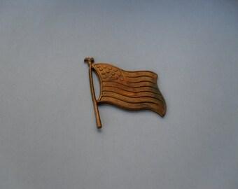 2 Vintage Brass U.S. Flag Stamping   ...   t-37