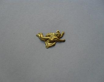 3 Vintage Flying Brass Cherub Stamping   (medium)  ..  B-22