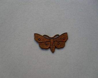 3 Vintage Large Red Brass Moth Stamping     t-32