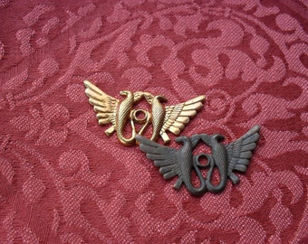 2 Vintage Red Brass Double Phoenix Stampings