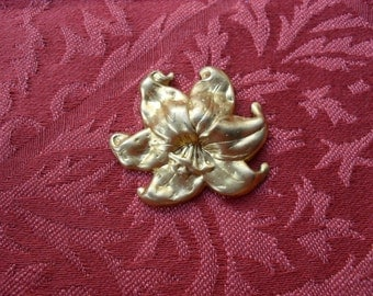 2  Large Vintage Brass Detailed Lily Top.  ..  t-37