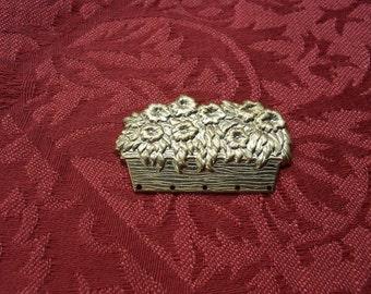 2 Vintage Brass Basket of Flowers Stampings  ..   B - 18