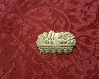 2 Vintage Brass Basket of Vegetables Stamping  ..  t-5