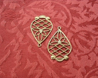 2 Vintage Brass Filigree Drop Stamping  ..  B - 9
