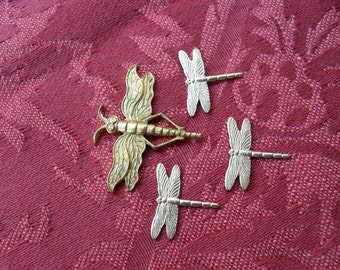 1 Set of Vintage Brass Mama Dragonfly with 3 Baby Dragonflies Stampings