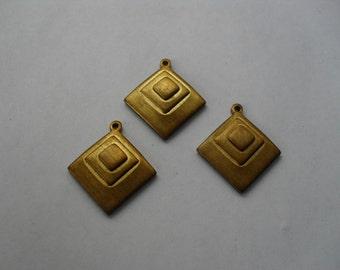 3 Vintage Brass Triple Diamond Drop Stamping    ...   t-33