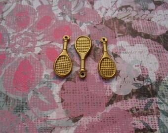 3 Vintage Brass Tennis Racket Stamping