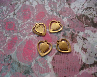 4 Vintage Brass Double Heart Stamping