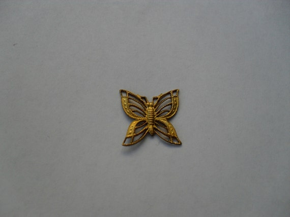 3 Vintage Brass Filagree Butterfly Stampings