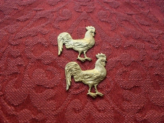 2 Vintage Brass Rooster Chicken Stampings   ...   B - 14