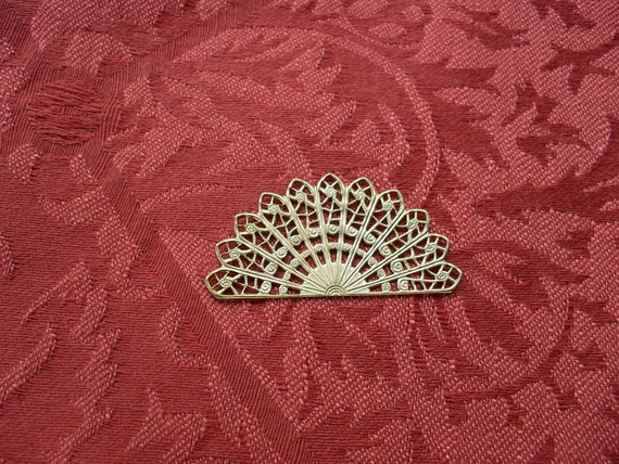 2 Vintage Brass Filigree Half Circle  ..  B - 4