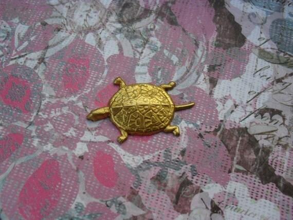 2 Vintage Brass Turtle Stamping