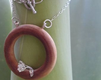Ring Flowers Wood and Silver Necklace