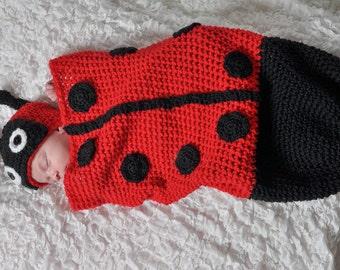Crochet Ladybug Hat and Cocoon