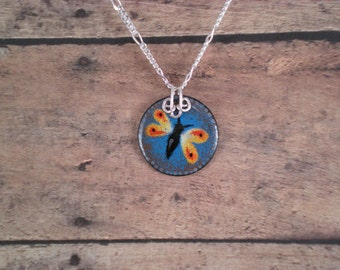 Colorful Little Butterfly Enamel on Copper Pendant with Sterling Silver