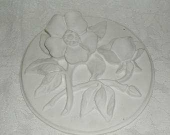 Wild Roses 1950s Chalkware Plaque