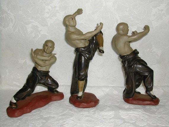 vintage stoneware three kung fu figurines. Black Bedroom Furniture Sets. Home Design Ideas