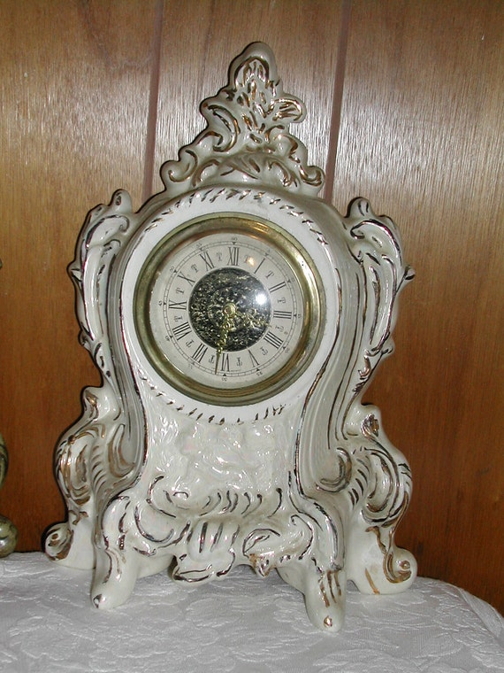 1960s Wind Up Clock French Provencial Style Cottage Chic