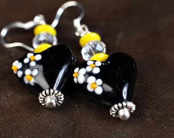 Heart Bead Earrings in Black and Yellow  Style 47