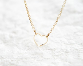 Open tiny heart necklace- delicate 14k gold filled chain- modern minimalist jewelry for everyday by noa noa