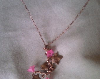 Copper Leaf Pendant with Flowers
