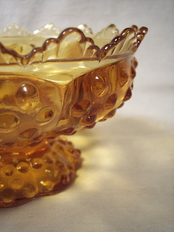 Vintage 1960s Fenton Amber Glass Hobnail Candle Bowl, Excellent Condition, Christmas, Holiday
