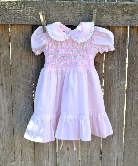 Smocked Dress Pastel Flowers Size 18 month to 2T