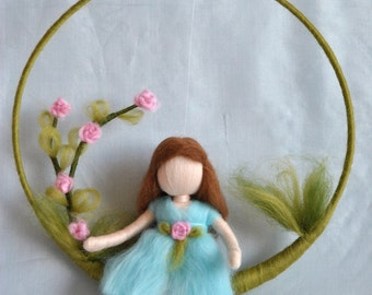 Nursery Mobile needle felted : Girl  with roses.