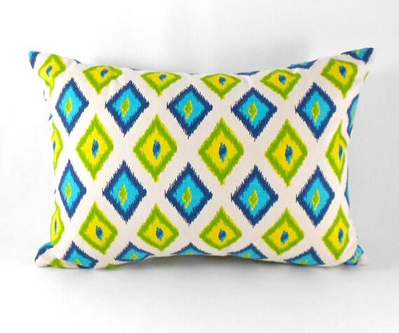 CLEARANCE SALE Lumbar Pillow Turquoise Yellow Green Indigo Diamond Ikat Mengei