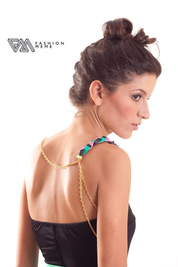Leather Braid Gold Epaulette Necklace