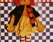 """Primative Raggedy Doll Sewing Pattern 18"""" New"""