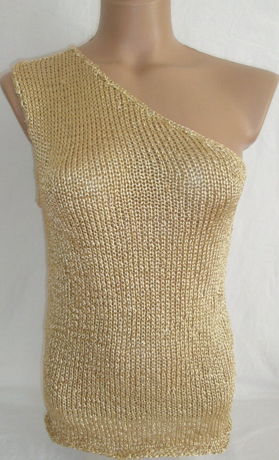 ON SALE Hand knitted single shoulder gold blouse for summer and spring