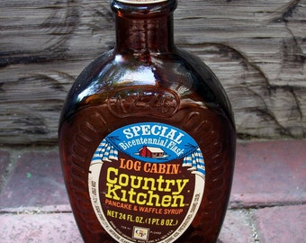 Vintage Log Cabin Country Kitchen Pancake and Waffle Syrup Bottle Bicentennial Flask Brown Glass
