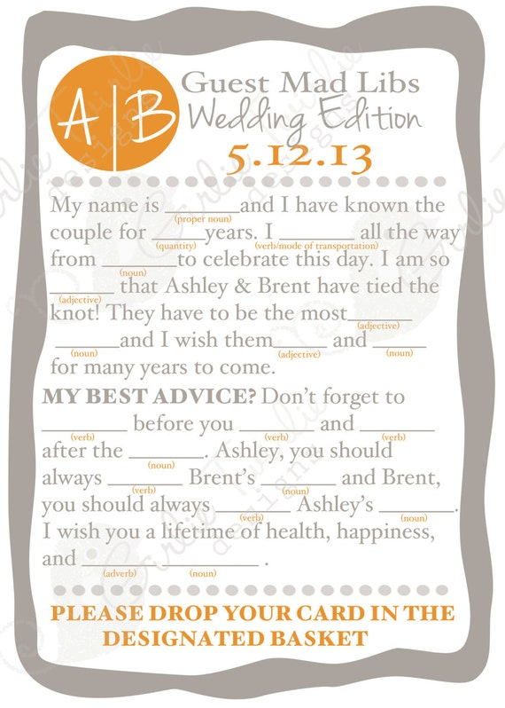 Items Similar To Wedding Advice Reception Mad Libs Custom Designed Cards On Etsy