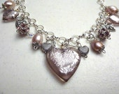 Pale Pink Heart Charm Necklace with Swarovski Crystals and Freshwater Pearls - Valentine