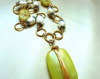 Wire Wrapped Lime Green Butter Jade and Freshwater Pearls Necklace